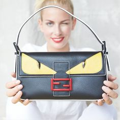 FENDI Monster Baguette Leather Shoulder Bag. RAWR!