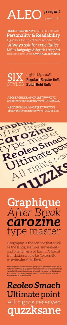 Aleo Free Font Aleo Free Font is a contemporary typeface designed as the slab serif companion to the Lato font by Łukasz Dziedzic. Aleo has semi-r...