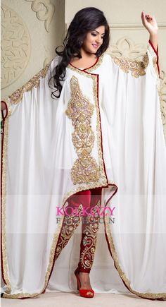 Maroon and off white crepe and silk and georgette sequins and stones islamic kaftans - Kolkozy Fashion Private Limited - 2377312 2 Piece Wedding Dress, Wedding Dress Separates, Maxi Dress Wedding, Luxury Wedding Dress, Pakistani Cape Dresses, Style Fête, Unusual Dresses, Elegant Dresses, Kaftan Designs
