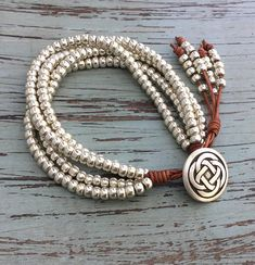 Silver Jewelry/Leather Wrap/Leather Wrap Bracelet/Multi Strand