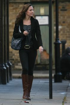 Kate Middleton Outfit... I technically have similar boots, pants, belt and jacket. All I need is the shirt :-)