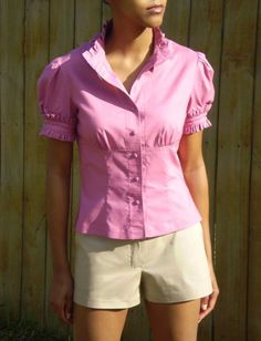 Ruffled Button Down Blouse Sizes 2-14 by garodgers on Etsy