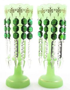 victorian lustres | Pair of Victorian Green Satin Glass Girandoles