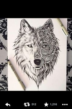 Wolf/tribal ink drawing