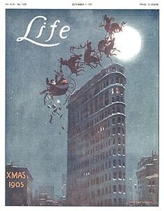 "Gilded Age Illustrator/Artist: William Balfour Ker, (1877-1918). LIFE magazine - December 1, c.1905. ""XMAS"" - Santa, and reindeer trying to fly over the Flatiron Building, toys falling out of sleigh. ~~ {cwl}"
