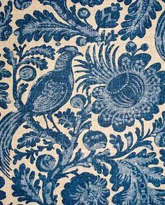 "Tucker Resist Indigo.  Waverly Fabric Williamsburg bird batik print. 55% LINEN 45% RAYON H 27"" V 36"" 54"" wide."