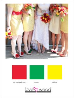 red, green, yellow #color palette #wedding