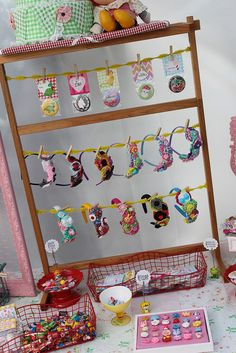 Craft show headband display.  You could add to it by painting the frame and hanging pins.