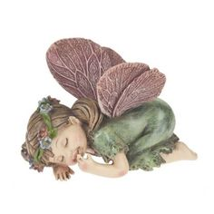 Sleeping Fairy. www.teeliesfairygarden.com . . . I guess this Sleeping Fairy requires no explanation except for what she did to make her so tired. Babies mimic older fairies which is no different from how all babies learn. But this baby tried to FLY ALL DAY! Be patient, baby, it will come. #babyfairy