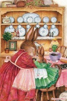 Illustration/Painting by Susan Wheeler Susan Wheeler, Beatrix Potter, Bunny Art, Cute Illustration, Illustration Animals, Illustration Pictures, Illustration Artists, Whimsical Art, Cute Art