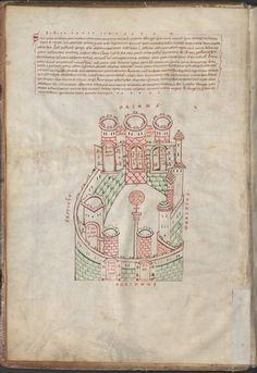 Munich StadtBibliothek, lat 13002 fol 4v - Jérusalem avec la colonne (peut être en l'honneur d'Adrien), à la porte de Damas au IVe siècle, représentée ici au XIIe siècle d'après un texte de Bède