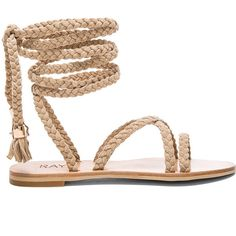 Raye Sadie Gladiator Sandal in Nude ❤ liked on Polyvore featuring shoes, sandals, fringe gladiator sandals, nude flats, lace-up sandals, braided sandals and flat shoes