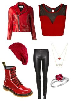 """""""Untitled #132"""" by paige101 ❤ liked on Polyvore featuring Charlotte Russe, Dr. Martens, Yves Saint Laurent and The Row"""