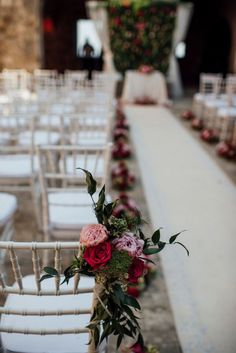 Cool decoration for wedding chairs during ceremony