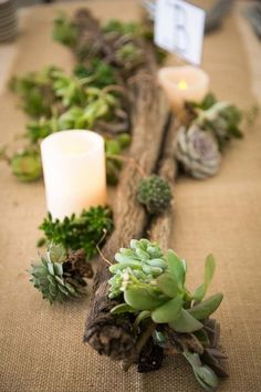A rustic centerpiece featuring pillar candles, succulents and wooden branches along a burlap table runner. {A. Blake Photography}