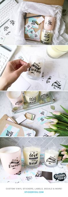 Fulfill all of your DIY needs custom stickers labels decals temporary tattoos magnets and more Create your custom products at Custom Vinyl, Custom Stickers, Custom Labels, Label Stickers, Do It Yourself Upcycling, Fun Craft, Foto Transfer, Wedding Labels, Wedding Favors