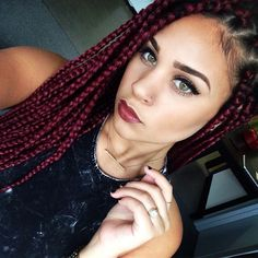 red box braids, burgundy, protective style, black women hair inspiration, black girls