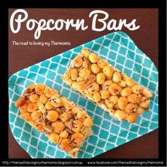 My boys loved these. Something a bit different to muesli bars. You could add dried fruit to this as well if desired. They lasted a week in the an airtight container. Lunch Box Recipes, Snack Recipes, Cooking Recipes, Lunchbox Ideas, Healthy Eating Recipes, Healthy Snacks, Puffed Corn Recipes, Dairy Free Snacks, Muesli Bars