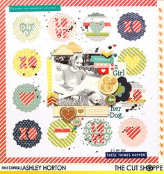 """The Cut Shoppe: Layout by Ashley Horton uses """"Pop Caps"""" cut file. Dog Scrapbook Layouts, Baby Boy Scrapbook, Disney Scrapbook, Scrapbook Cards, Scrapbooking Ideas, Silhouette Cameo Projects, Studio Calico, American Crafts, Layout Inspiration"""