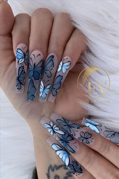 40 Beautiful Acrylic Coffin Nails Design For Long Nails This Summer - Latest Fashion Trends For Woman Butterfly Nail Designs, Butterfly Nail Art, Cute Acrylic Nail Designs, Acrylic Nails Coffin Short, Blue Acrylic Nails, Summer Acrylic Nails, Coffin Nails, Summer Nails, Acrylic Nails Stiletto