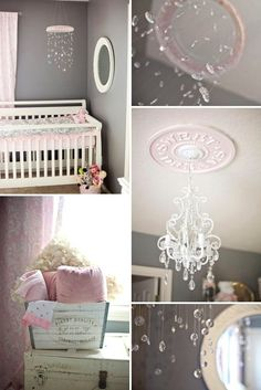 Oh my word....the details..... Shabby chic nursery in pink and gray by Khandiie