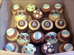 Cupcakes, Various Baby Shower Cupcake Applying Chocolate Decoration 00307: Cute Baby Shower Cakes Design & Decoration