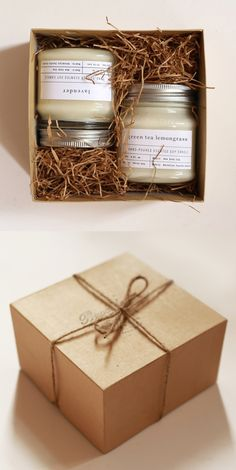 Gift one and keep one, or, you know, treat yourself and keep 'em both! For the set of 2, candles will arrive packaged in a rustic hand-stamped kraft wrapped box ready for gift-giving. And, yes, brown paper packages tied up with string are some of our favorite things too. (For sets of 3 and 4, candles will come in muslin pouches without a box.)