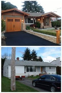 Before and After from Tamlin Homes. A 60's ranch gets the Craftsman vibe. Gorgeous.