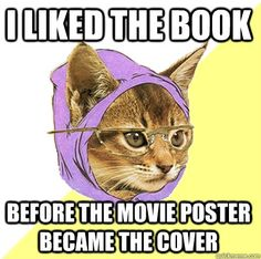 Haha hipster reader cat (but I usually do like the original covers better if im gonna buy the books)