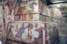 Mural found inside a pyramid at the ancient Maya site of Calakmul, Mexico. This shows maize, salt and daily life on this mural.