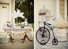 vintage theme wedding centerpieces | Vintage Backyard Wedding with Really Cute Ideas via Kara's Party Ideas ...