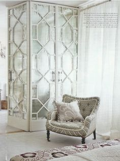 Those mirrored closet doors! Beautiful London abode of Neisha Crosland, a wallpaper and textile designer. From Vogue Living Australia and The Zhush blog. (via The Zhush: Missing Vogue Living)