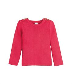 Pull fille en tricot laine et coton à col rond rouge Rubis - Petit Bateau