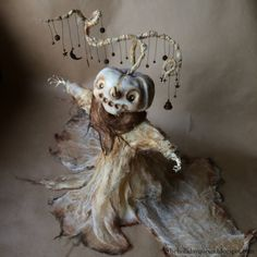 Pumpkin Art Doll. Halloween Folk Art by Melissa Valeriote