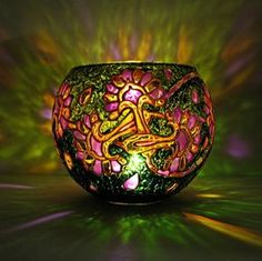Oriental Votive Candle Holder by bellekaX on DeviantArt | Hand painted stained glass.
