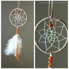 Beige and cream n white dreamcatcher with a touch of gold.