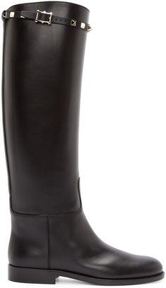 Valentino - Black Leather Rockstud Riding Boots