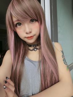 Six Export The Japanese Harajuku GAL Wig Matt Heat Pink Streaked Brown Straight