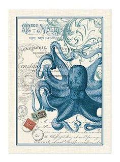Bon Michel Design Works Cotton Kitchen Dish Towel   Spruce, Octopus, Lobster,  Black Cherries
