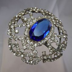 Antique STUNNING LARGE Blue Oval Stone and Rhinestone Hatpin Hat Pin, NR