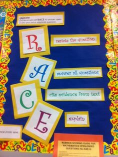 R.A.C.E. used to answer open ended literacy questions. R-restate the answer, A-answer all questions, C-cite evidence from text, and E-explain answer