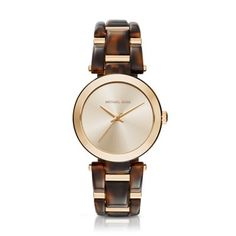 Delray Tort Acetate 3 Hand Watch A stunning bracelet of gold-tone and tort acetate links gives a colorful flair to the gold-tone sunray dial of the Michael Kors Delray watch.