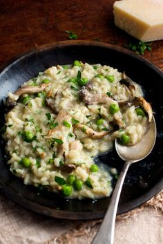 If you are ever at a loss for what to make for an impromptu dinner party, especially if there will be vegetarians at the table, consider this luxurious mushroom risotto I added peas because I wanted to introduce some color, and also because the sweetness of the peas fits right in with the flavors of this dish But this satisfying, elegant dish is fine without peas, too