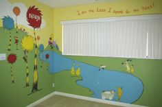 Dr. Suess, Dr. Suess Nursery Mural, A Dr.Suess forest scene from The Lorax, The Sneetches, Green Eggs and Ham, and One Fish Two Fish Red Fish Blue Fish.  , Nurseries Design