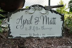 Custom FAMILY NAME SIGN, Shabby Chic Wedding Sign, Vintage Wedding Sign, Romantic Weddings, Established Sign, Just Married Sign, 24 x 14