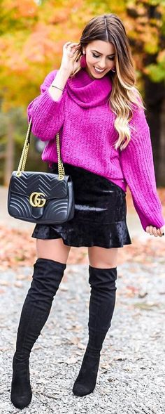 #fall #outfits pink sweater velvet skirt boots