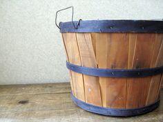 Vintage wooden bushel basket // Vintage orchard basket. $26.00, via Etsy.
