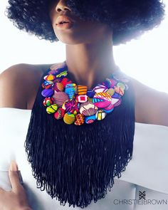 Christie Brown gives us a sneak peak into a few necklaces available at Viva Boutique in Ghana. The design takes the concepts of the print button bib necklace to African Necklace, African Jewelry, Fabric Necklace, Fabric Jewelry, African Wear, African Dress, African Clothes, African Style, African Accessories