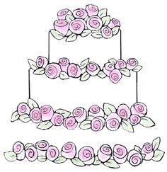Wedding Cake & Stamp Border