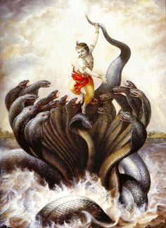 When the water of the Yamuna was being polluted by the black serpent Kaliya, Lord Krsna took action against him and made him leave the Yamuna and go elsewhere, and thus the water became purified.